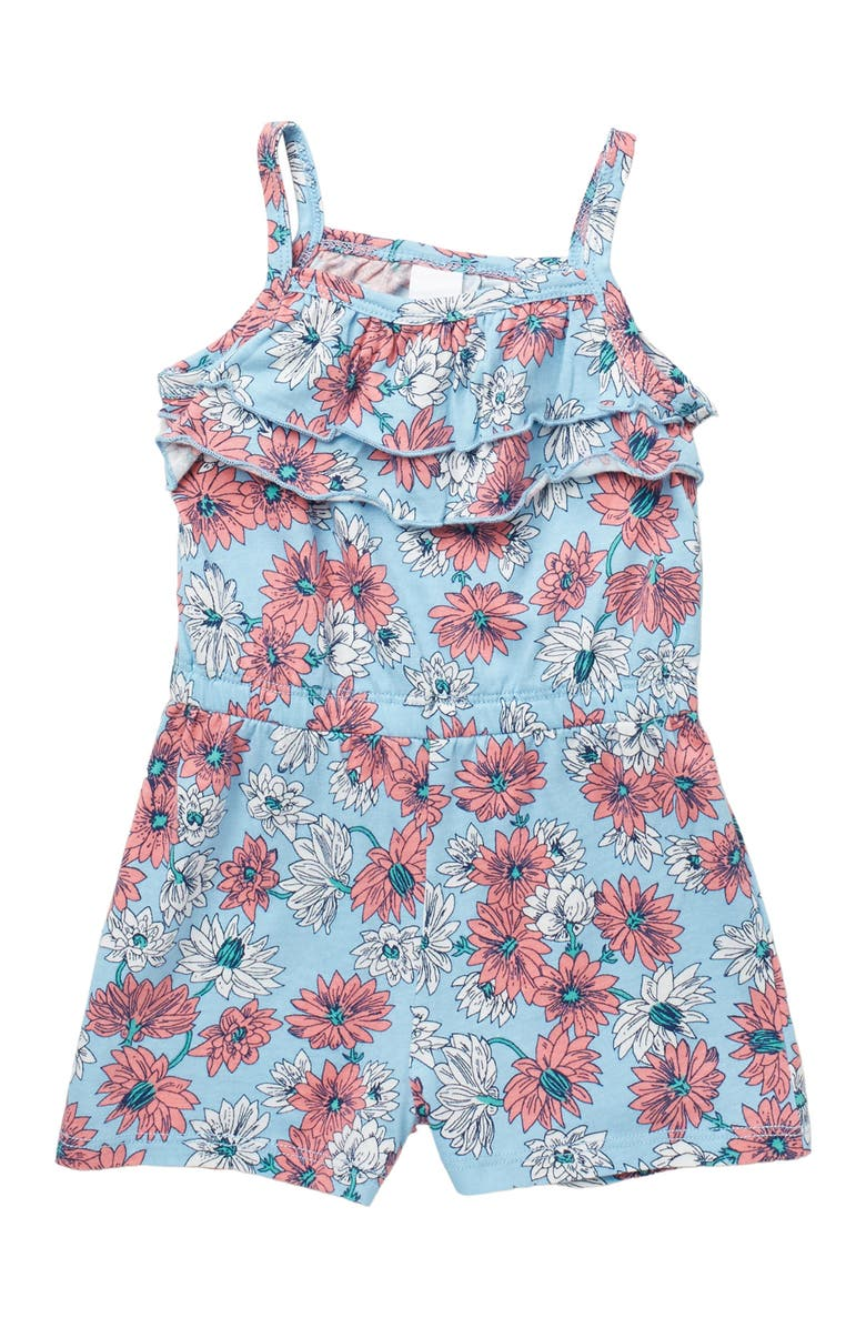 HARPER CANYON Printed Tiered Ruffle Romper, Main, color, BLUE SKY CHRYSANTHEMUN