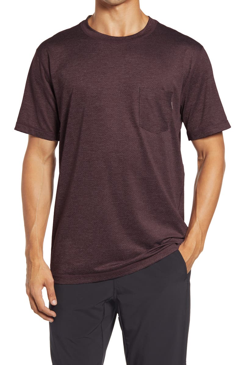 VUORI Tradewind Pocket Performance T-Shirt, Main, color, OXBLOOD HEATHER