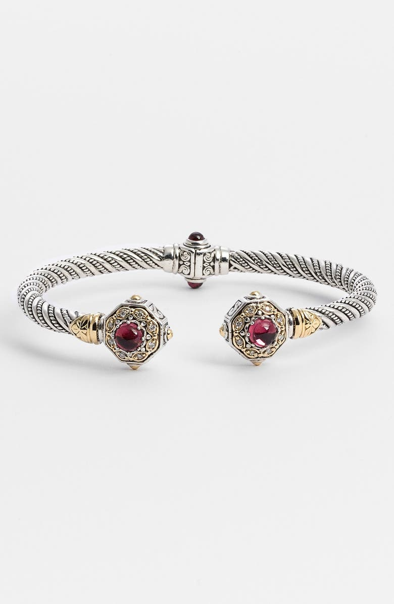KONSTANTINO 'Hermione' Diamond Hinged Cuff, Main, color, SILVER/ PINK