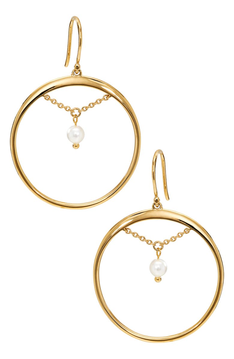 AJOA Imitation Pearl Hoop Earrings, Main, color, Gold