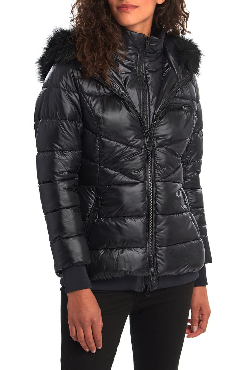 BARBOUR INTERNATIONAL Barbour Strike Puffer Coat with Removable Faux Fur Trimmed Hood, Main, color, 001