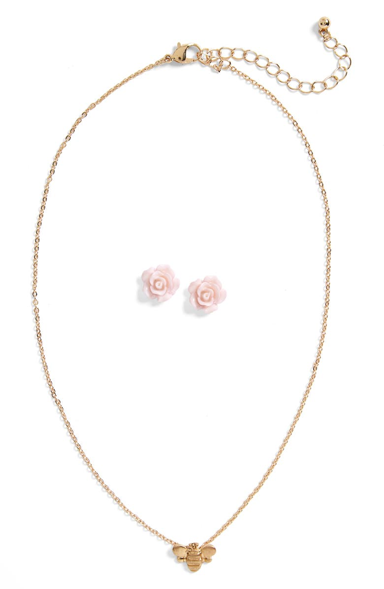 CAPELLI NEW YORK Capelli of New York Be Free Bumblebee Necklace & Flower Stud Earring Set, Main, color, 573
