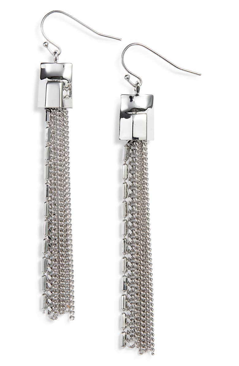 VINCE CAMUTO Mix Chain Tassel Drop Earrings, Main, color, Silver