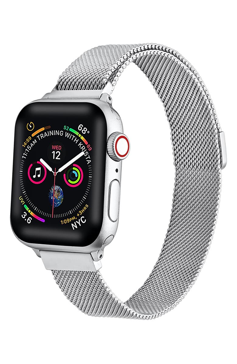 THE POSH TECH Skinny Mesh Bracelet Strap for Apple Watch<sup>®</sup>, Main, color, SILVER-42/ 44MM