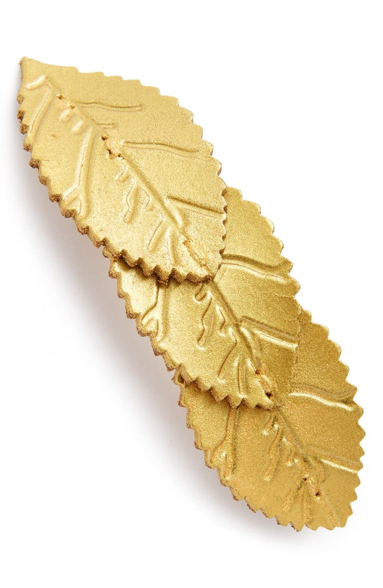 BERRY 'Pretty Leaf' Leather Barrette, Main, color, Gold