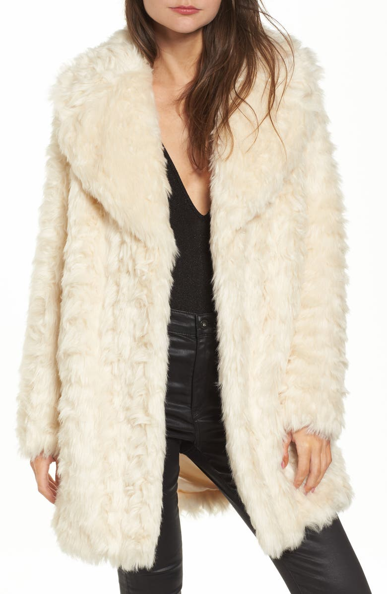 KENDALL + KYLIE Curly Faux Fur Coat, Main, color, 900