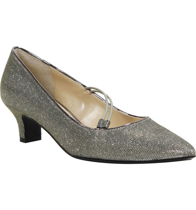 J. RENEÉ Idenah Pointed Toe Pump, Main, color, PEWTER GLITTER FABRIC