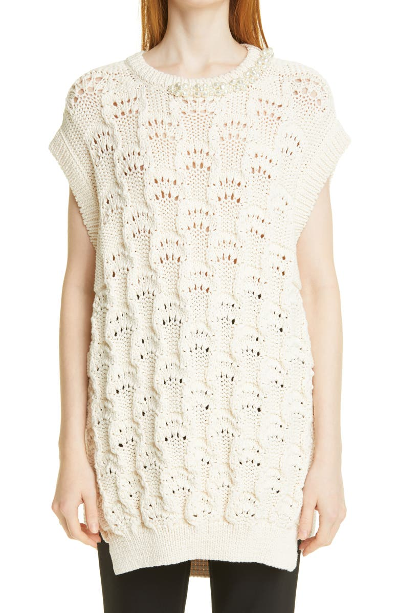 SIMONE ROCHA Embellished Sleeveless Bubble Sweater, Main, color, CREAM/ PEARL