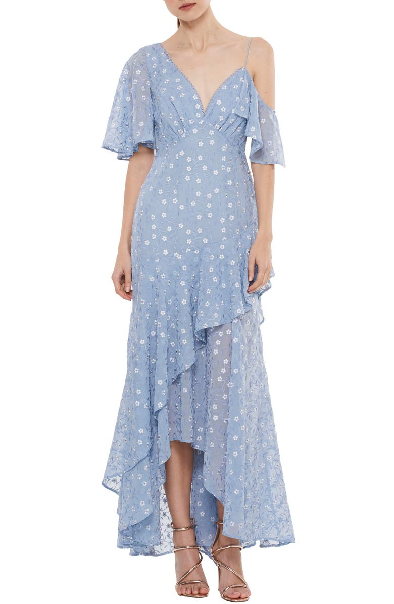 LA MAISON TALULAH Ardency Asymmetrical Embroidered Gown, Main, color, 452