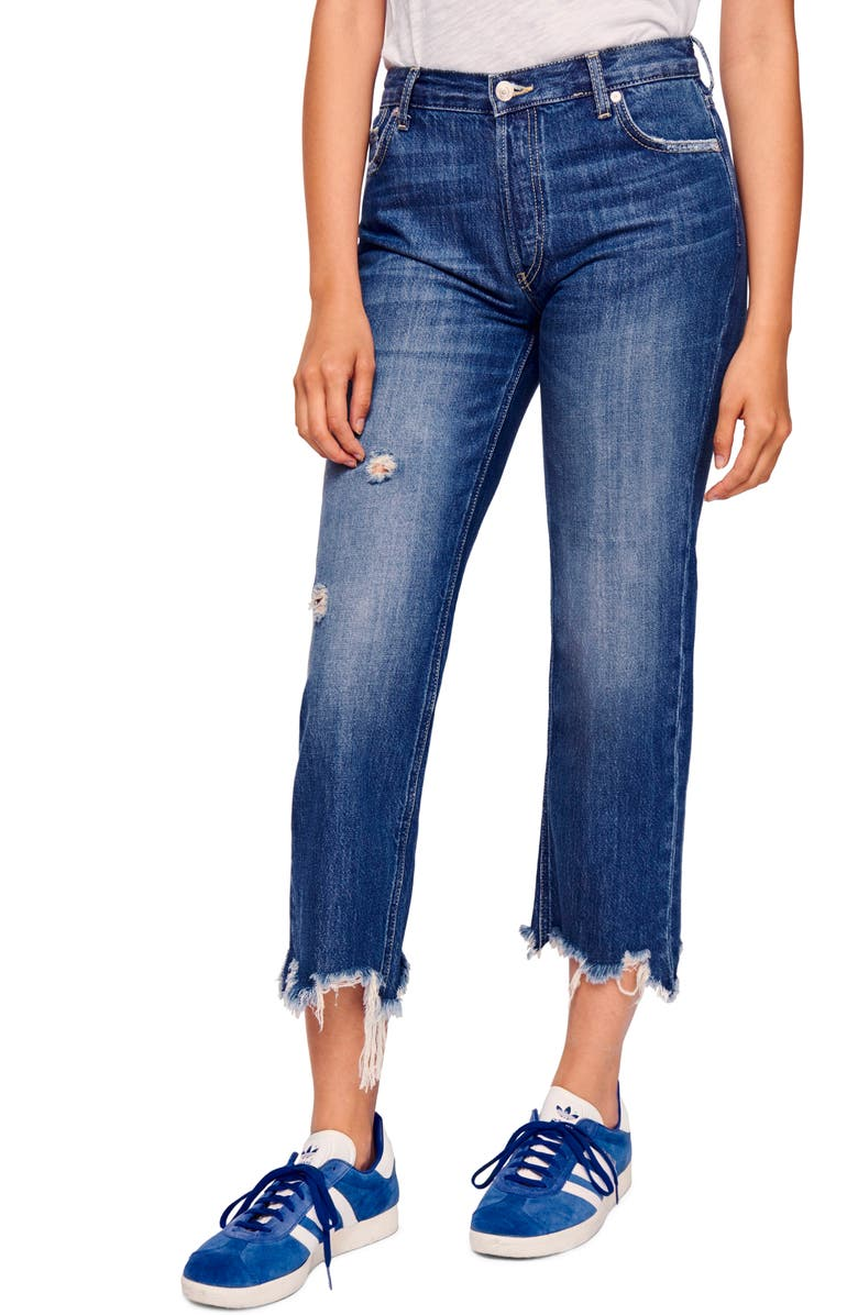 FREE PEOPLE We the Free by Free People Maggie Ripped Crop Straight Leg Jeans, Main, color, SEQUOIA BLUE