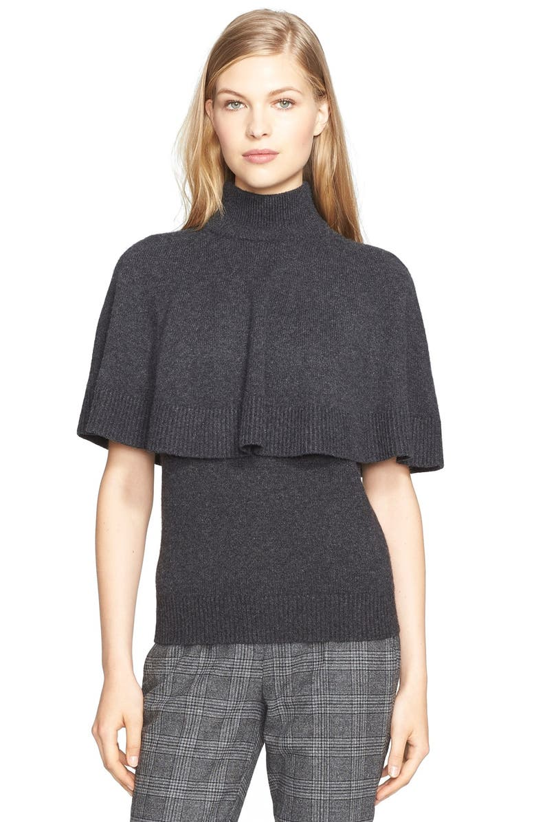 MICHAEL KORS Cashmere Capelet Sweater & Sleeveless Shell, Main, color, 010