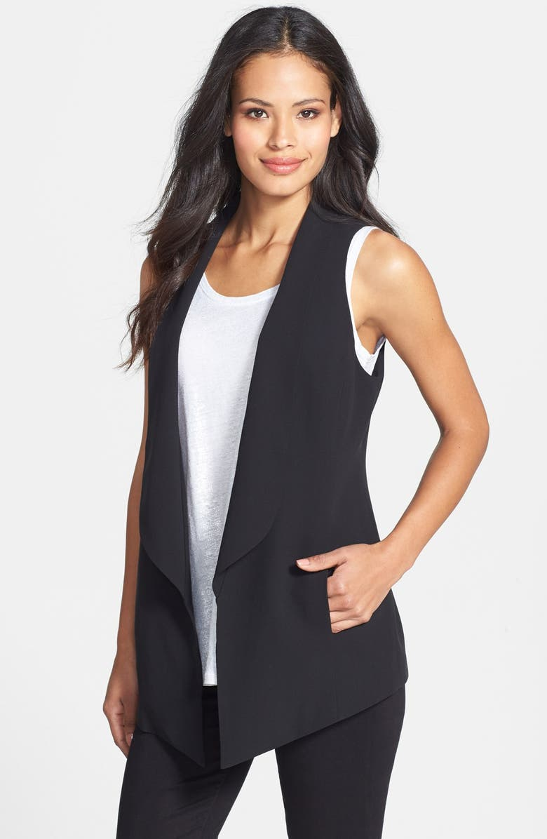 EILEEN FISHER Shawl Collar Long Vest, Main, color, 001