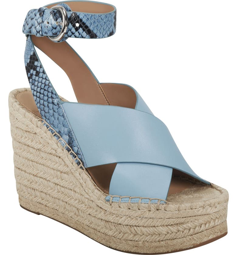 MARC FISHER LTD Abacia Wedge Sandal, Main, color, MEDIUM BLUE LEATHER