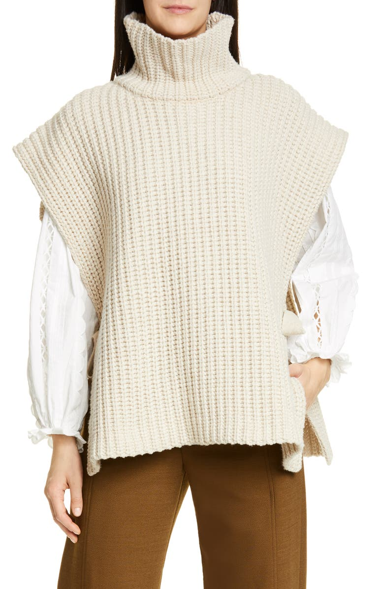 SEE BY CHLOÉ Side Tie Turtleneck Wool Blend Poncho, Main, color, 101