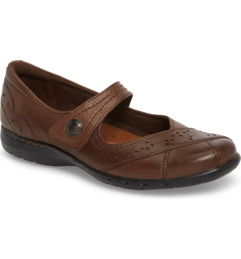 ROCKPORT Cobb Hill 'Petra' Mary Jane Flat, Main, color, BROWN LEATHER
